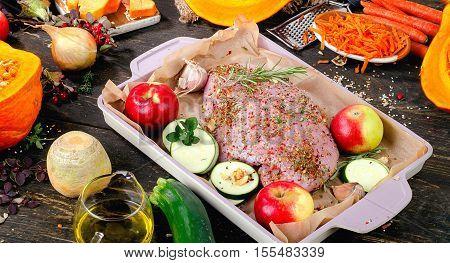 Raw Turkey Breast And Fresh Vegetables