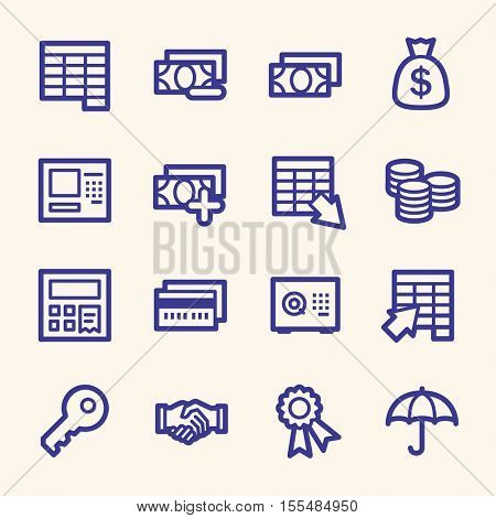 Finance and banking,  credit card and cash, atm and value, safe and handshake, web vector stock icons