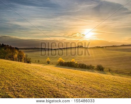 Sunset In Beautiful Colorful Autumnal Landscape