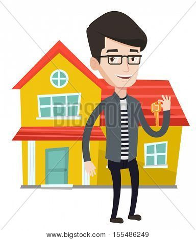 Young real estate agent holding key. Caucasian real estate agent with keys standing on the background of house. Happy new owner of house. Vector flat design illustration isolated on white background.
