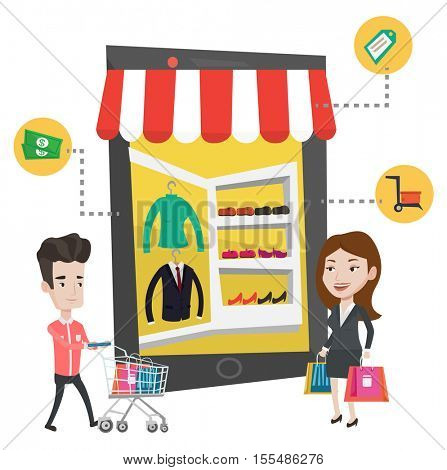 Caucasian people doing online shopping. Man and woman using mobile shopping. People shopping in store that looks like tablet computer. Vector flat design illustration isolated on white background.