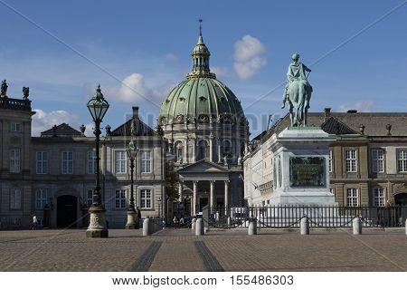 Copenhagen, Denmark - 09-21-2016, Statue of King Frederik 5 in front of Marmorkirken, Marble Church or Frederik's Church, Copenhagen, Denmark