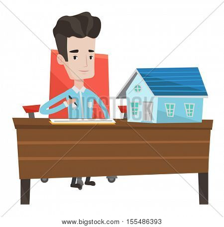 Real estate agent signing contract. Real estate agent sitting in office with house model on the table. Man signing home purchase contract. Vector flat design illustration isolated on white background.