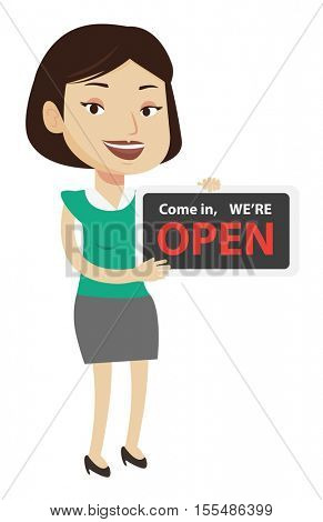 Shop owner holding open signboard. Cheerful female shop owner standing with open signboard. Woman inviting to come in her open shop. Vector flat design illustration isolated on white background.