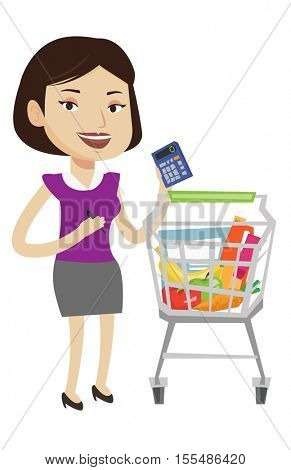 Woman standing near supermarket trolley with calculator in hand. Woman checking prices on calculator. Customer counting on calculator. Vector flat design illustration isolated on white background.