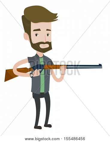 Caucasian man shooting skeet with shotgun. Young hunter ready to hunt with hunting rifle. Hipster hunter aiming with a hunter gun. Vector flat design illustration isolated on white background.
