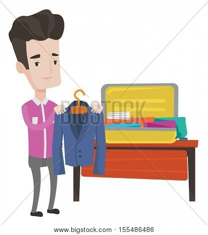 Man packing his clothes in an opened suitcase. Caucasian businessman putting a suit into a suitcase. Man preparing suitcase for vacation. Vector flat design illustration isolated on white background.