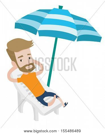 Hipster man sitting in a beach chair. Man resting on holiday while sitting under umbrella on a beach chair. Man relaxing on a beach chair. Vector flat design illustration isolated on white background.
