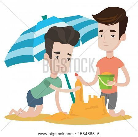 Young caucasian friends making sand castle on the beach under beach umbrella. Smiling friends building sandcastle. Beach holiday concept. Vector flat design illustration isolated on white background.