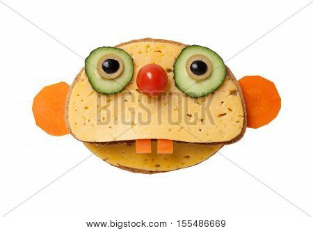 Sloth made of bread and cheese on white background