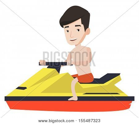 Caucasian happy man sitting on a water scooter. Young smiling man riding on a water scooter. Excited man training on a water scooter. Vector flat design illustration isolated on white background.