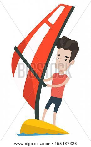 Caucasian windsurfer windsurfing on the board with sail. Windsurfer standing on the board with sail for surfing. Man learning to windsurf. Vector flat design illustration isolated on white background.