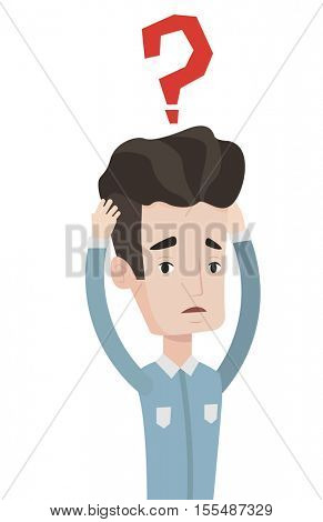 Bankrupt businessman clutching his head. Bankrupt businessman with big question mark above his head. Concept of business bankruptcy. Vector flat design illustration isolated on white background.