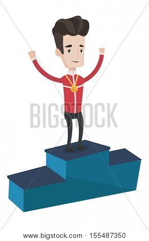 Sportsman celebrating on the winners podium. Young caucasian sportsman with gold medal standing on the winners podium. Winner concept. Vector flat design illustration isolated on white background.