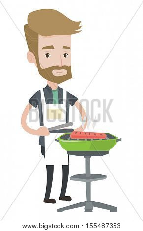 A hipster man with the beard cooking meat on the barbecue grill. Young caucasian man having barbecue party. Man preparing barbecue. Vector flat design illustration isolated on white background.