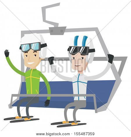 Two happy caucasian men sitting on ski elevator. Smiling skiers using cableway at ski resort. Skiers on cableway at winter sport resort. Vector flat design illustration isolated on white background.