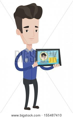 Man holding tablet computer with social network user profile on a screen. Man social networking on tablet computer. Social network concept. Vector flat design illustration isolated on white background