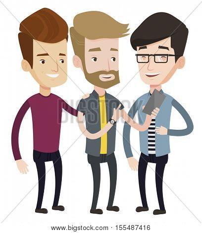 Young hipster guy showing something to his friends on his mobile phone. Three happy caucasian friends looking at mobile phone and laughing. Vector flat design illustration isolated on white background