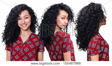 Young woman with curly black hair from all angles isolated on white.