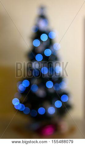 Christmas tree in the room Defocused background