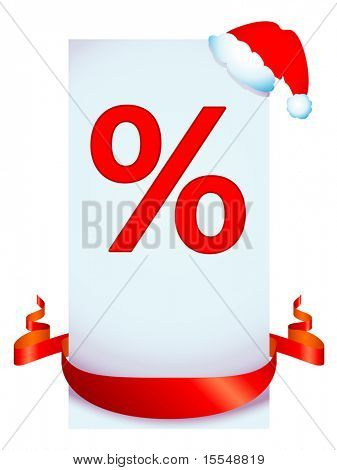 christmas discount with red ribbon