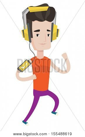 Man running with earphones and armband for smartphone. Man using armband for smartphone. Sportsman running with armband for smartphone. Vector flat design illustration isolated on white background.