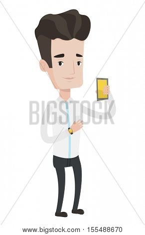 Young caucasian man showing his smartphone and smart watch. Concept of synchronization between smartwatch and smartphone. Vector flat design illustration isolated on white background.