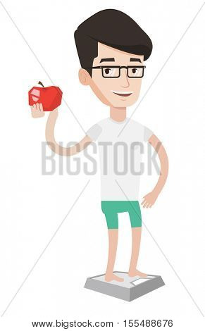 Man with apple in hand weighing after a diet. Man satisfied with result of his diet. Man on a diet. Dieting and healthy lifestyle concept. Vector flat design illustration isolated on white background.