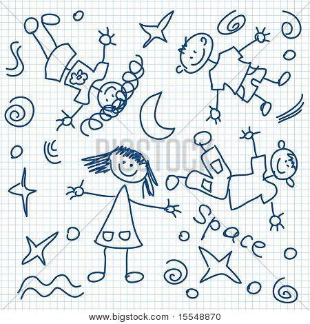 happy kids flying in space
