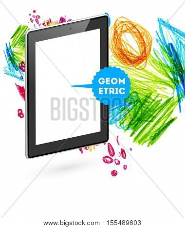 Tablet pc icon with abstract watercolor hipster background design.