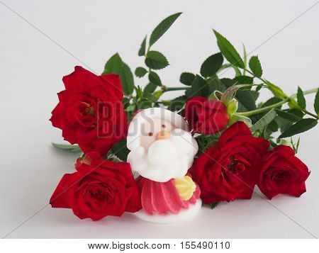 Pale-colored Santa Claus on blurred red roses background