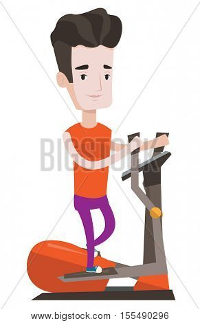 Young man exercising on elliptical trainer. Caucasian man working out using elliptical trainer at the gym. Man using elliptical trainer. Vector flat design illustration isolated on white background.