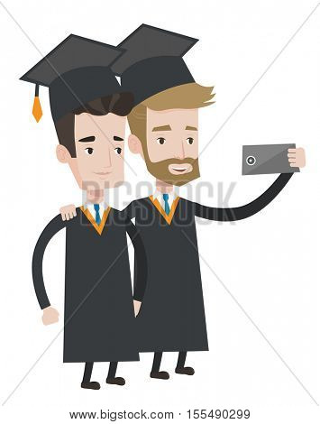 Graduates in cloaks and graduation caps making selfie. Graduates making selfie with cellphone. Young caucasian graduates making selfie. Vector flat design illustration isolated on white background.
