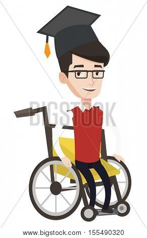 Happy graduate sitting in wheelchair. Caucasian graduate sitting in wheelchair. Disabled graduate in graduation cap sitting in wheelchair. Vector flat design illustration isolated on white background.