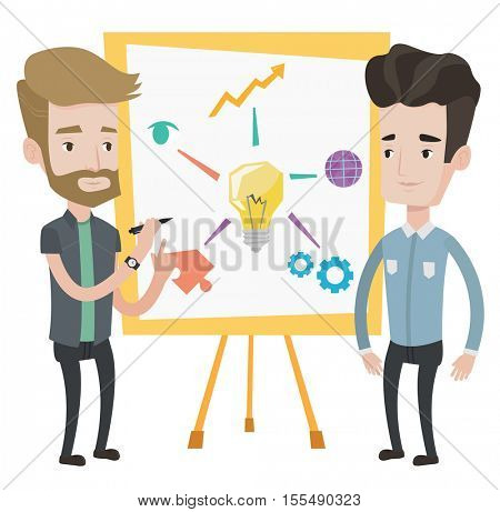 Two caucasian businessmen discussing a project. Group of businessmen working on project. Businessman drawing business project on a board. Vector flat design illustration isolated on white background.