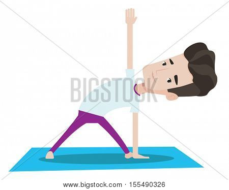 Young man standing in yoga triangle pose. Caucasian sportsman meditating in yoga triangle position. Sporty man doing yoga on the mat. Vector flat design illustration isolated on white background.