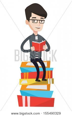 Young caucasian male student sitting on huge pile of books. Student reading book. Smiling man sitting on stack of books with book in hands. Vector flat design illustration isolated on white background