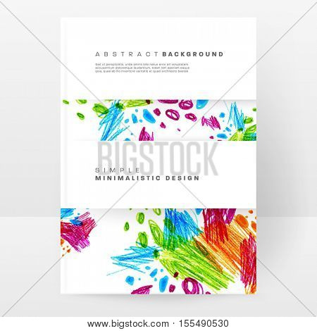 Set of Hand Drawn Universal Cards. Design for Flyers, Placards, Posters, Invitations, Brochures. Artistic Creative Templates. Abstract Modern Style