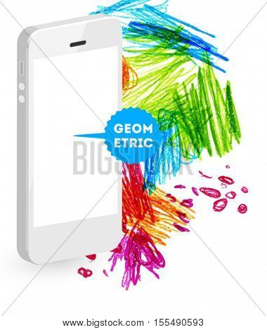 Mobile phone icon with abstract watercolor hipster background design