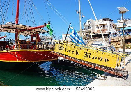 SISSI, CRETE - SEPTEMBER 14, 2016 - Gangplank leading to the rear of the Black Rose Pirate ship moored in the harbour Sissi Crete Europe, September 14, 2016.