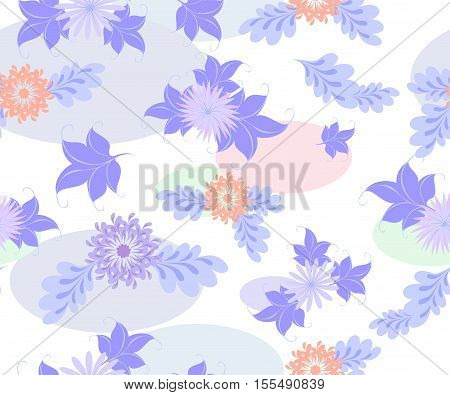Seamless background with blue flowers and ellipses on a uniform white background. EPS10 vector illustration.