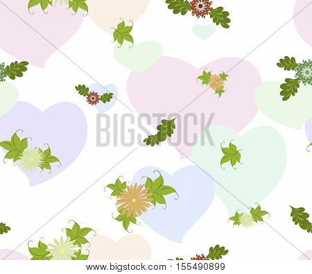 Seamless background with flowers and hearts on a homogeneous white background. EPS10 vector illustration.