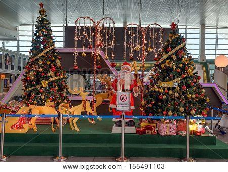 Kuala Lumpur, Malaysia - Dec 06, 2015: Christmas tree and decoration in Kuala Lumpur International Airport 2, KLIA2