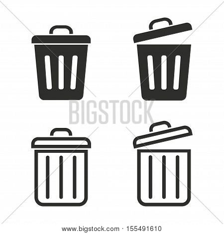 Bin vector icons set. Black illustration isolated on white background for graphic and web design.