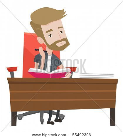 Caucasian student sitting at the table and thinking. Thinking student writing in exercise book. Thinking hipster student doing homework. Vector flat design illustration isolated on white background.