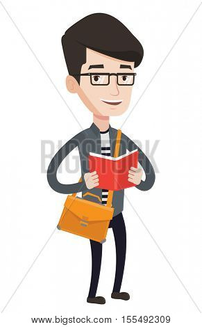 Smiling caucasian student reading a book. Cheerful male student reading a book and preparing for exam. Student standing with book in hands. Vector flat design illustration isolated on white background