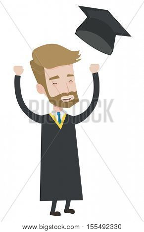 Excited graduate in cloak and graduation hat. Hipster graduate throwing up his hat. Cheerful graduate with hands raised celebrating. Vector flat design illustration isolated on white background.