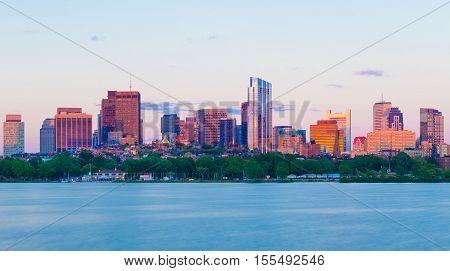 Boston Back Bay skyline between golden hour and evening dusk
