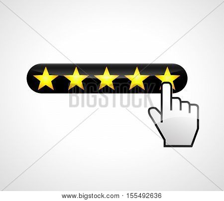Illustration of five stars with hand click