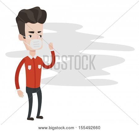Young caucasian man standing in smoke pollution. Man wearing a mask to reduce the effect of air pollution. Concept of toxic air pollution. Vector flat design illustration isolated on white background.